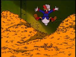 Scrooge McDuck jumping into a pile of gold coins