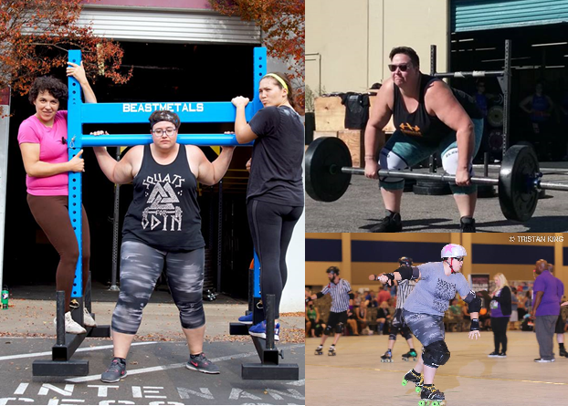 a collage of photos of the author lifting weights and playing roller derby