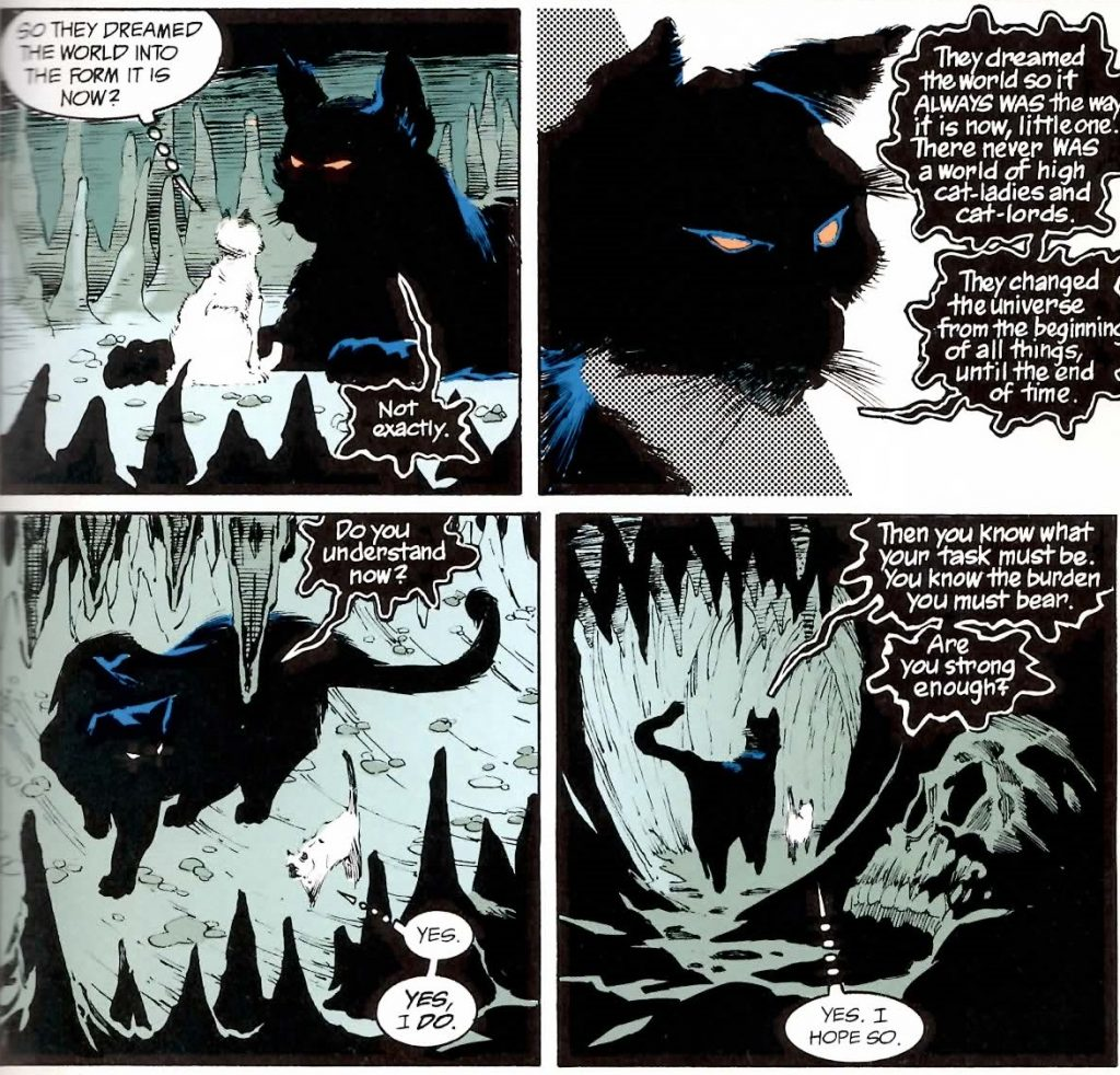 "4 comic book panels from ""Sandman."" A large black cat tells a small white cat the secret to changing the world"