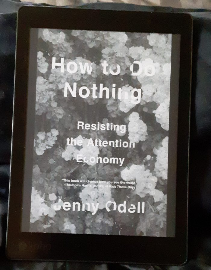 "Photo of the book cover on my e-reader. ""How to do nothing: resisting the attention economy"" by Jenny Odell"