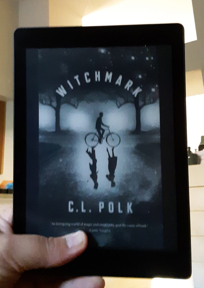 "cover of the book ""Witchmark,"" shown on kobo e-reader"