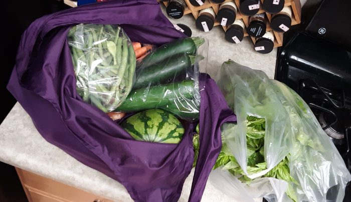 a reusable bag full of produce, including green beans, zucchini and a watermelon