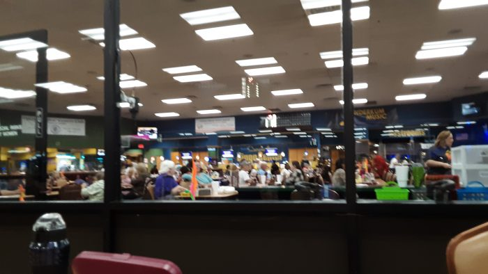 a view of the crowd in the bingo hall