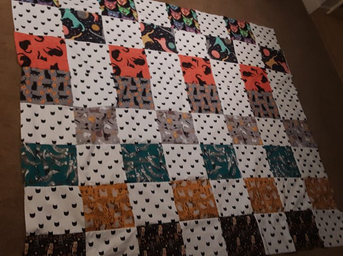 cat quilt top sewn together