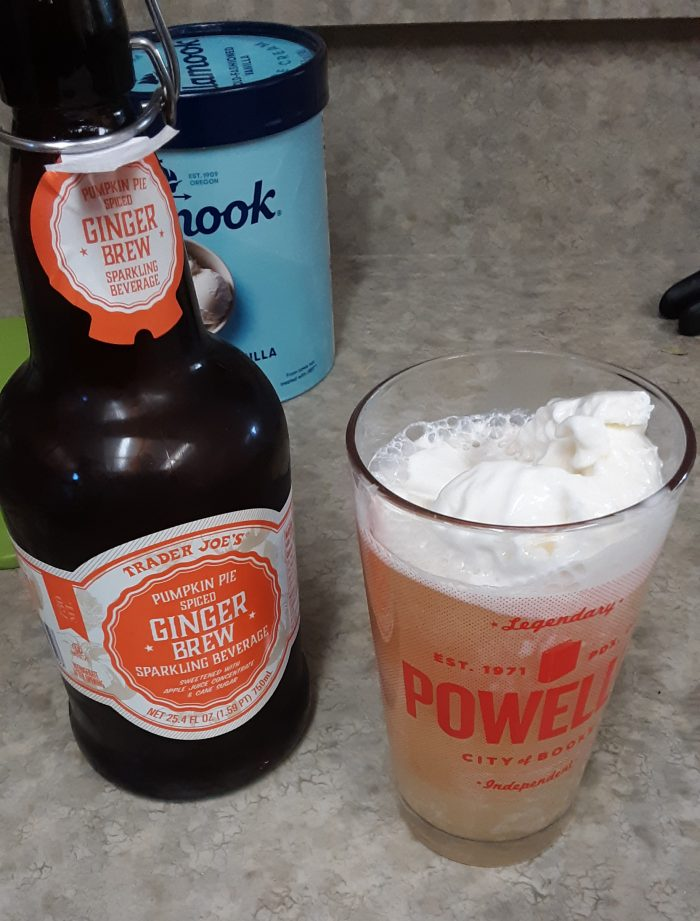 a bottle of Trader Joes Pumpkin Pie Spiced Ginger Brew, and a glass of the same with ice cream