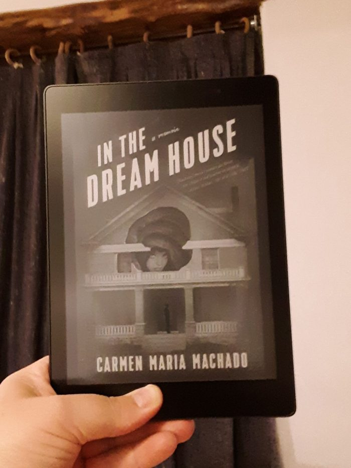 "cover of ""In the Dream House"" on the kobo reader, taken in a hotel room"