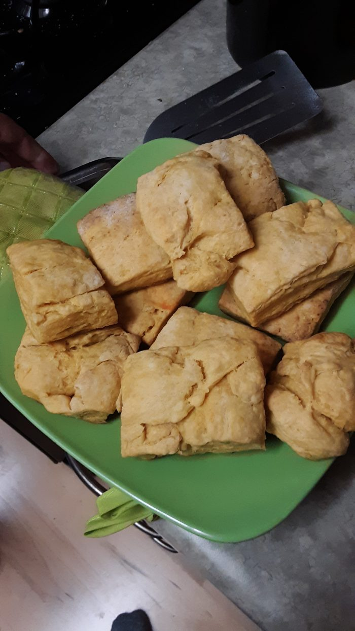 a plate of sweet potato biscuits