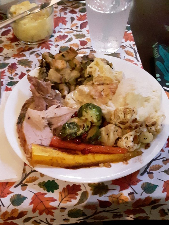 a plate of thanksgiving food