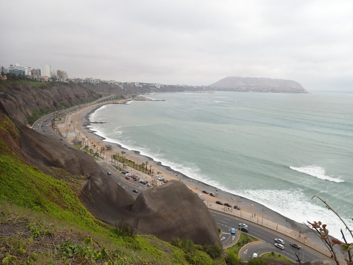 View of the Malecón in Lima, a shot of the coast from up high