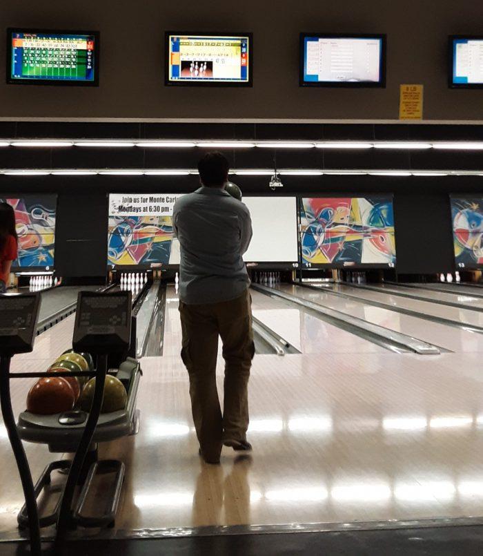 Kirk bowling, taken from behind