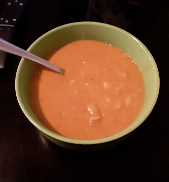a bowl of bean and bacon soup