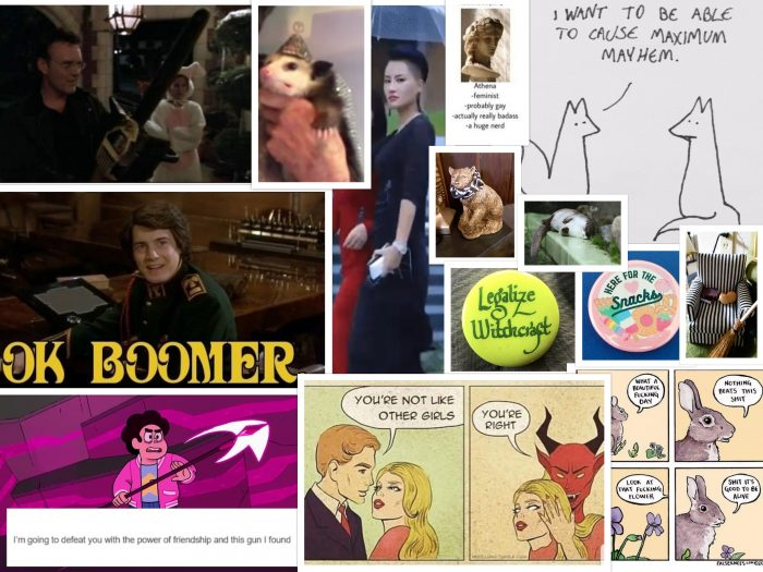 "collage of pictures representing my mood for 202, including ""okay, boomer,"" ""legalize witchcraft,"" Giles (of Buffy the Vampire Slayer) with a chainsaw, and a possum wearing a foil hat."