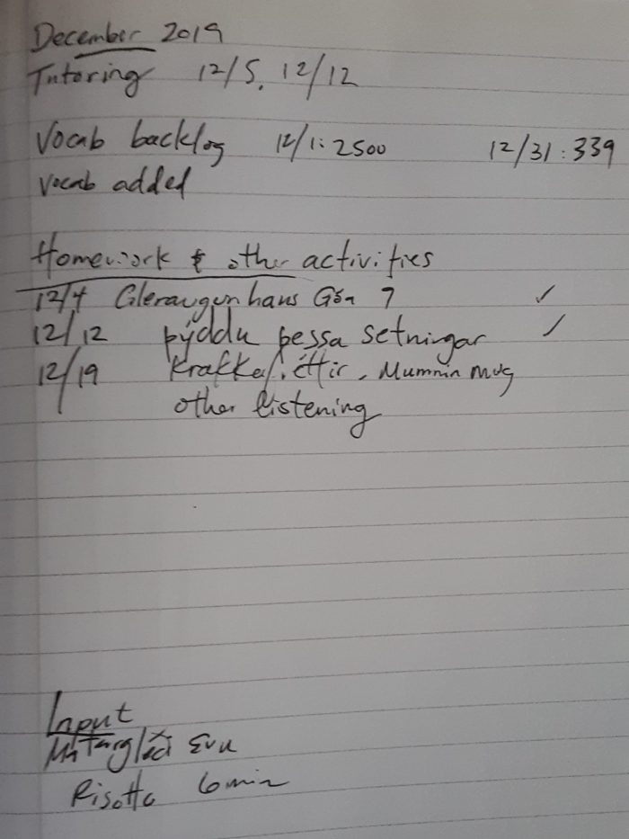 a page of my notebook tracking what studying I did in Icelandic in December