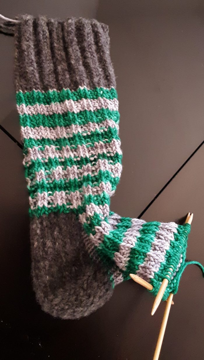 a sock, knit to slightly past the heel