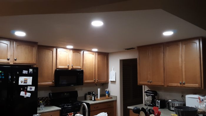 remodeled kitchen lights: five lights set into the ceiling