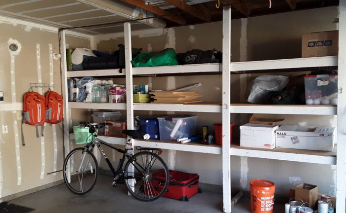 a view of the shevles in my garage, with all the things on them neat and organized