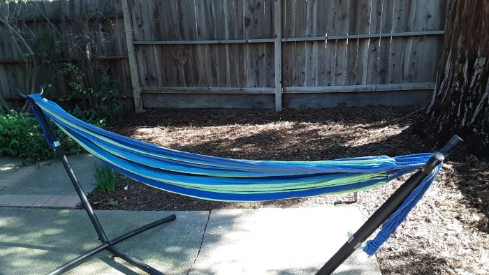 my hammock in the back yard