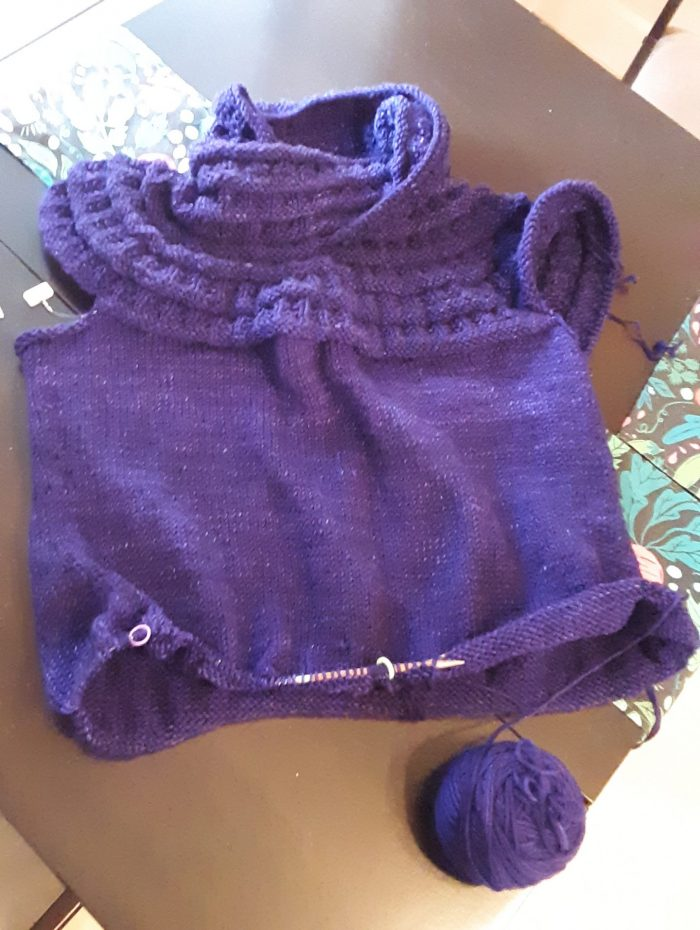 nearly shirt-length knit tunic in purple yarn
