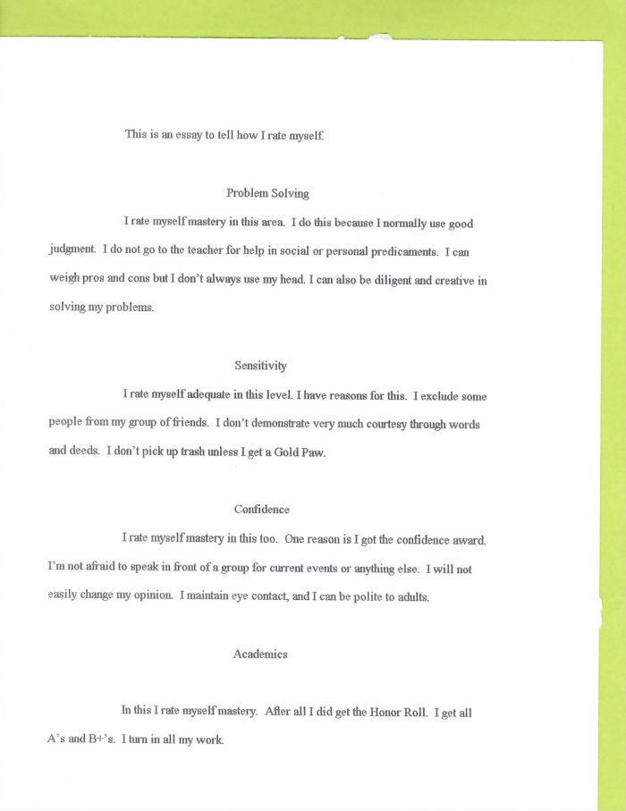 """an essay describing """"how I rate myself"""" in various categories at the end of fifth grade"""