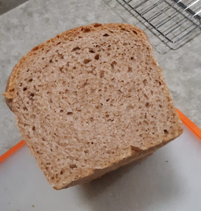 cross-section of whole wheat sourdough loaf