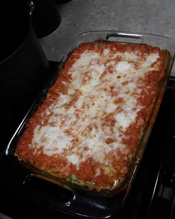 a pan of homemade lasagna