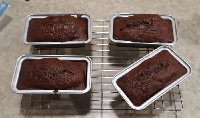 four mini loaves of chocolate zucchini bread