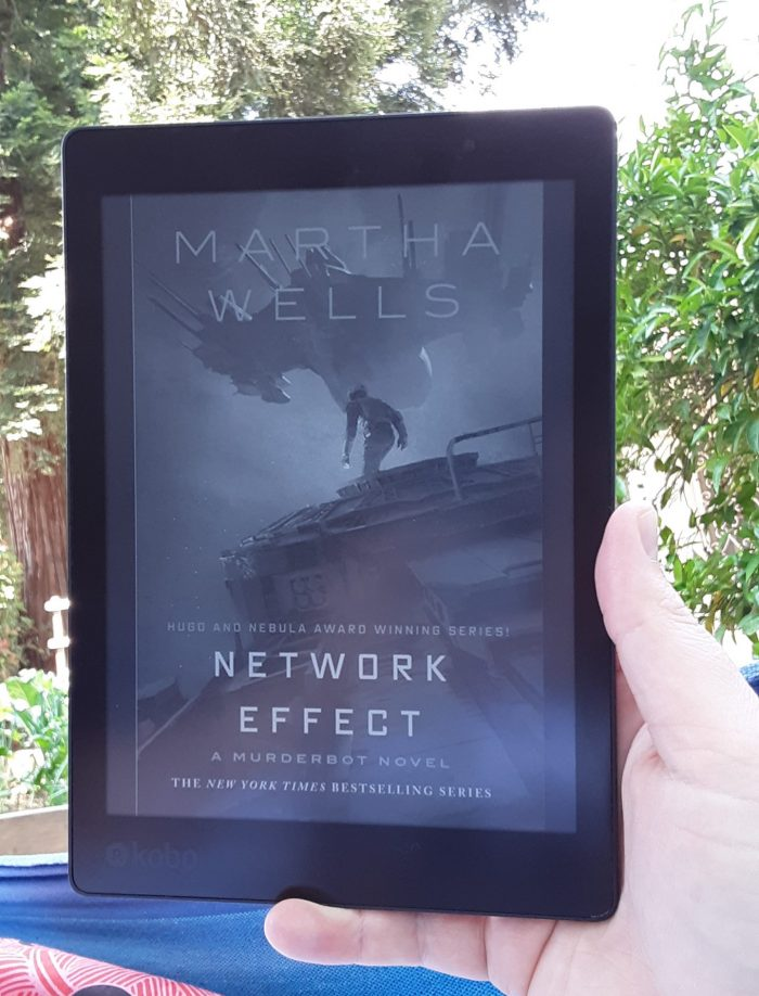 book cover of Network Effect by Martha Wells, shown on kobo ereader