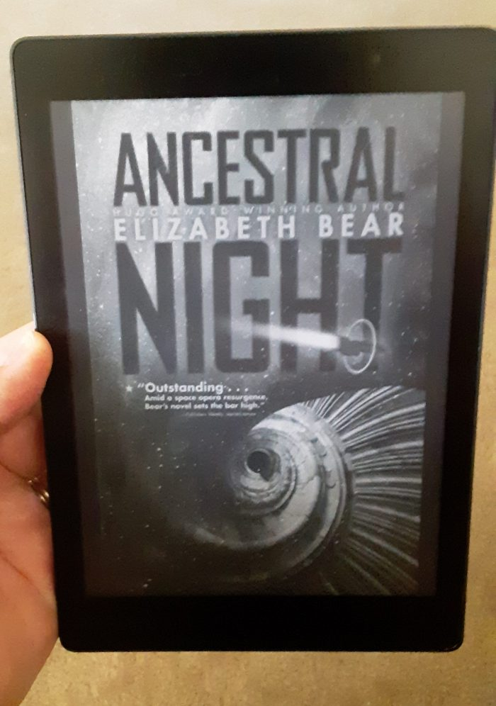 "book cover of ""Ancestral Night"" by Elizabeth Bear as seen on Kobo ereader"