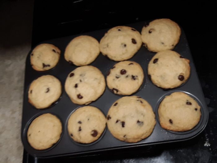 a pan of chocolate chip muffins