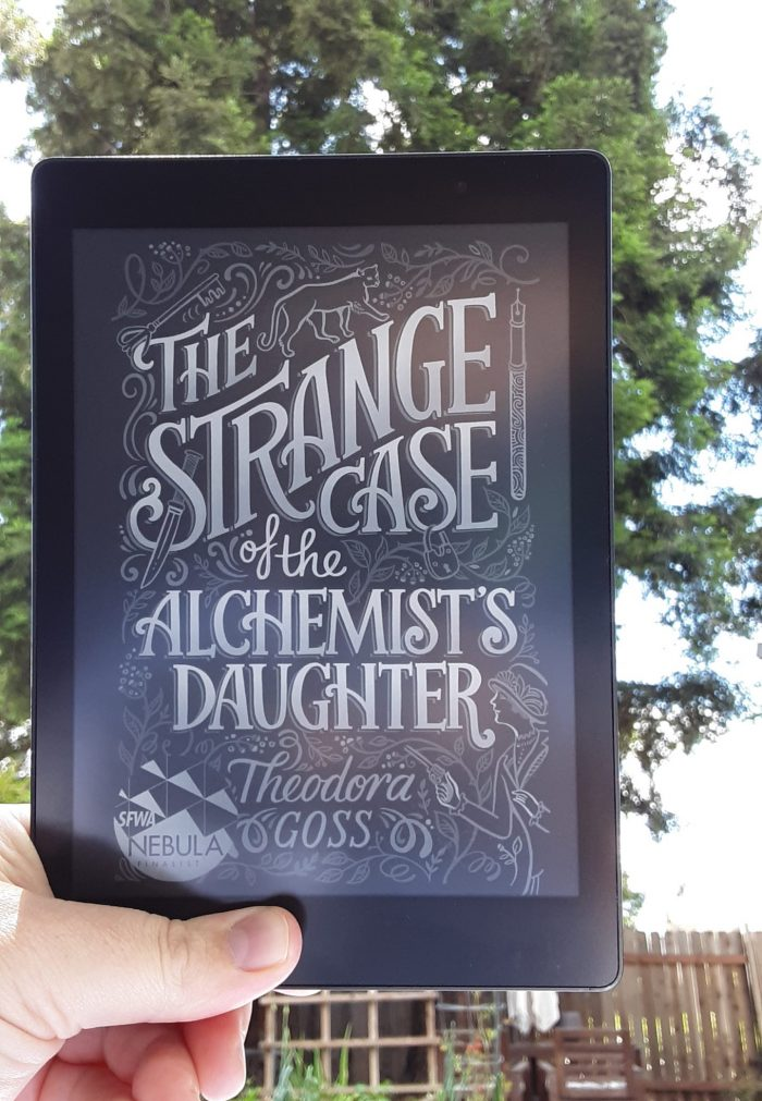 "book cover ""The Strange Case of the Alchemists Daughter"" shown on kobo ereader"