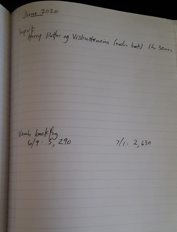 notebook page showing what Icelandic studying I did in June
