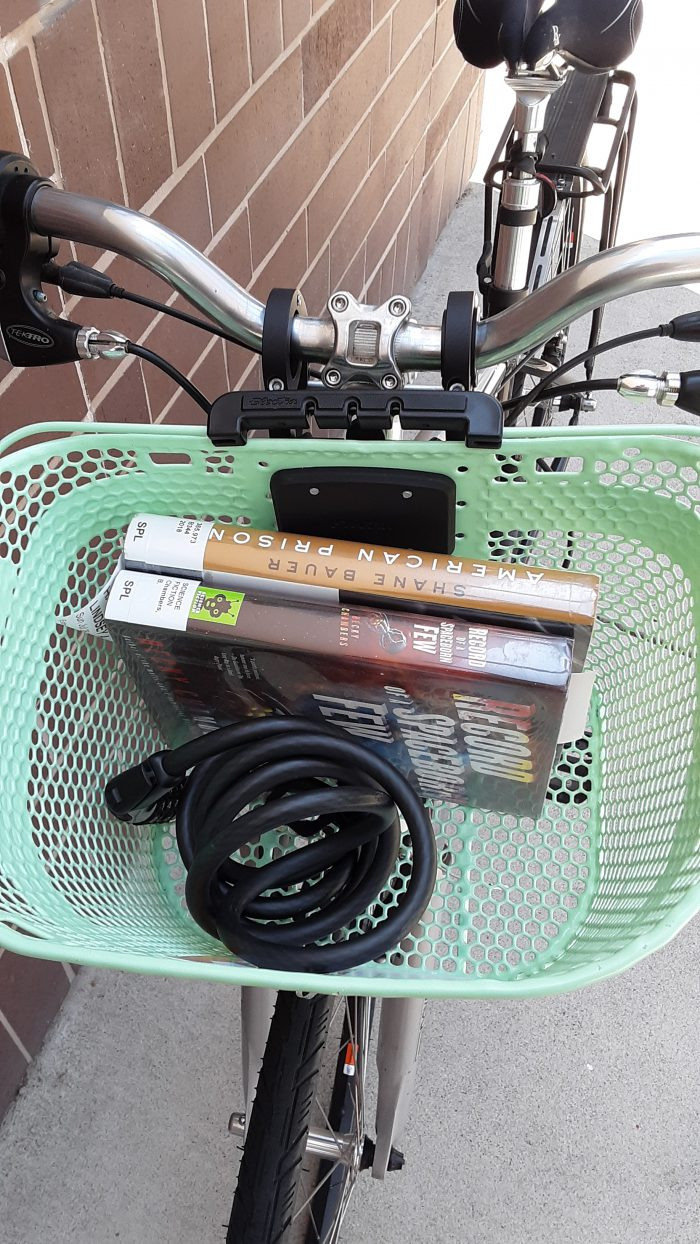 two library books in my bike basket