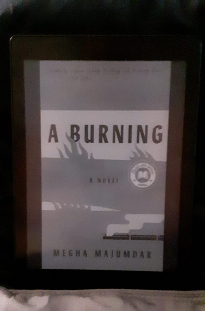 book cover for A Burning shown on kobo ereader