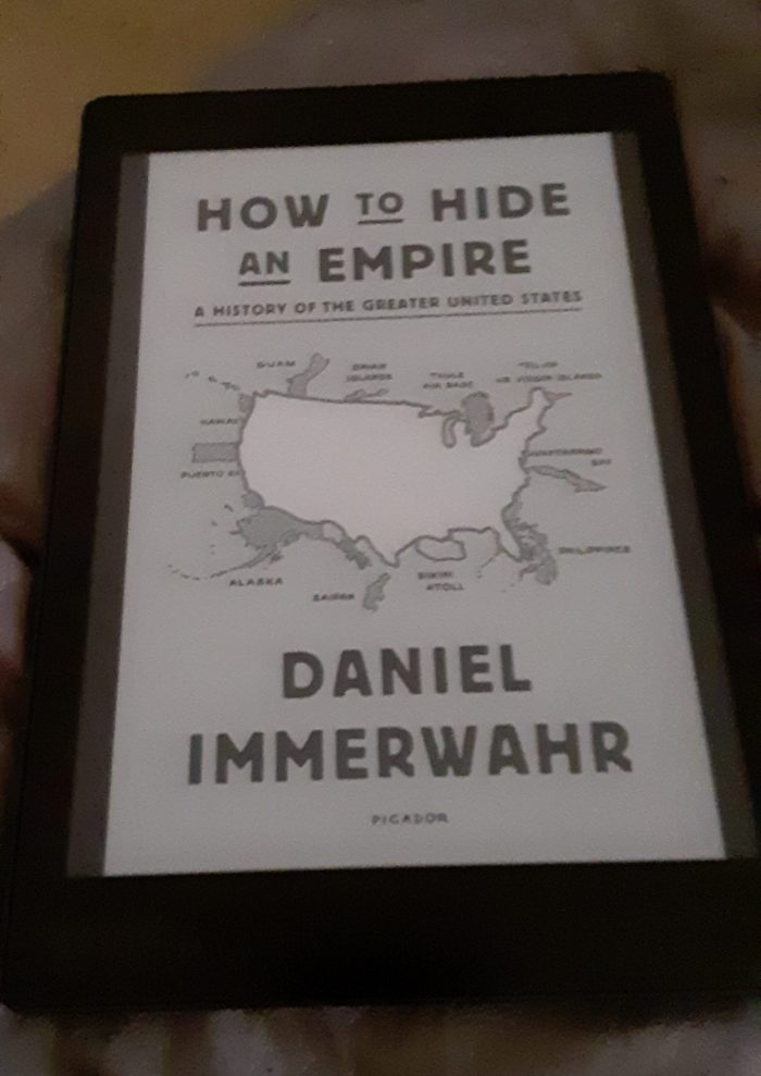 "book cover of ""how to hid an empire"" shown on Kobo ereader"