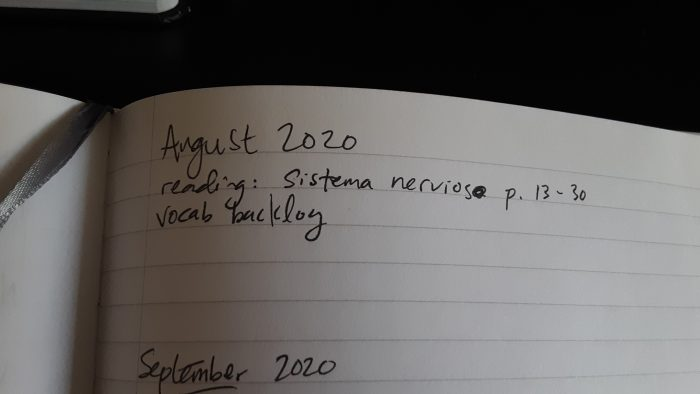 photo of a notebook with just one item in my list of August Spanish activities
