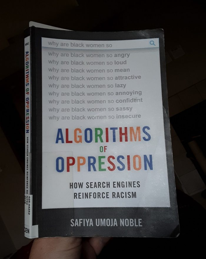 "book cover of ""algorithms of oppression"""