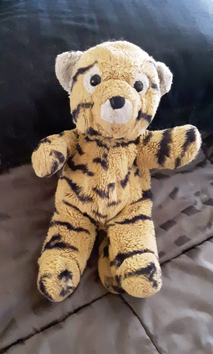 Cuddles the stuffed tiger, pre washing