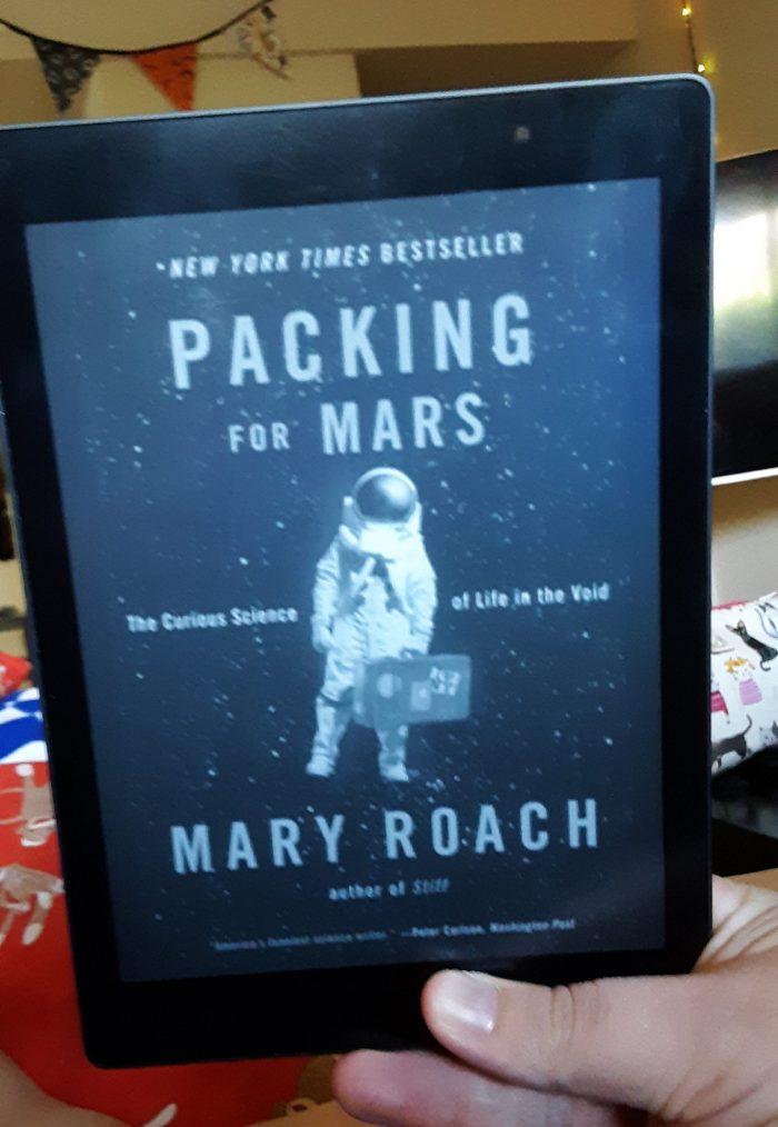 Book cover of Packing for Mars as seen on Kobo ereader