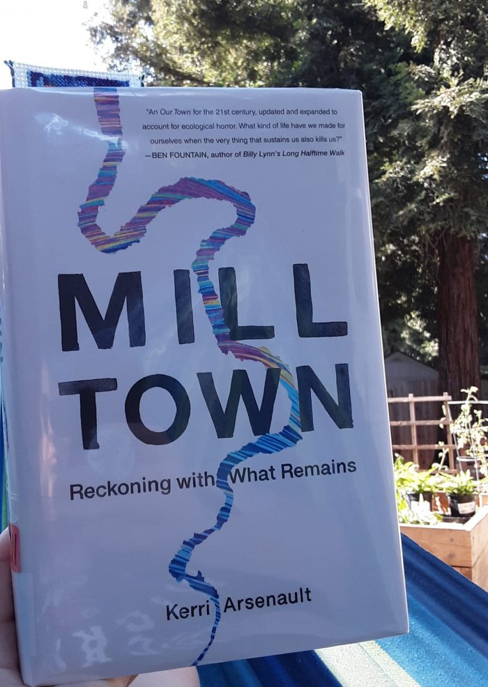 cover of Mill Town, photo taken outside in my hammock