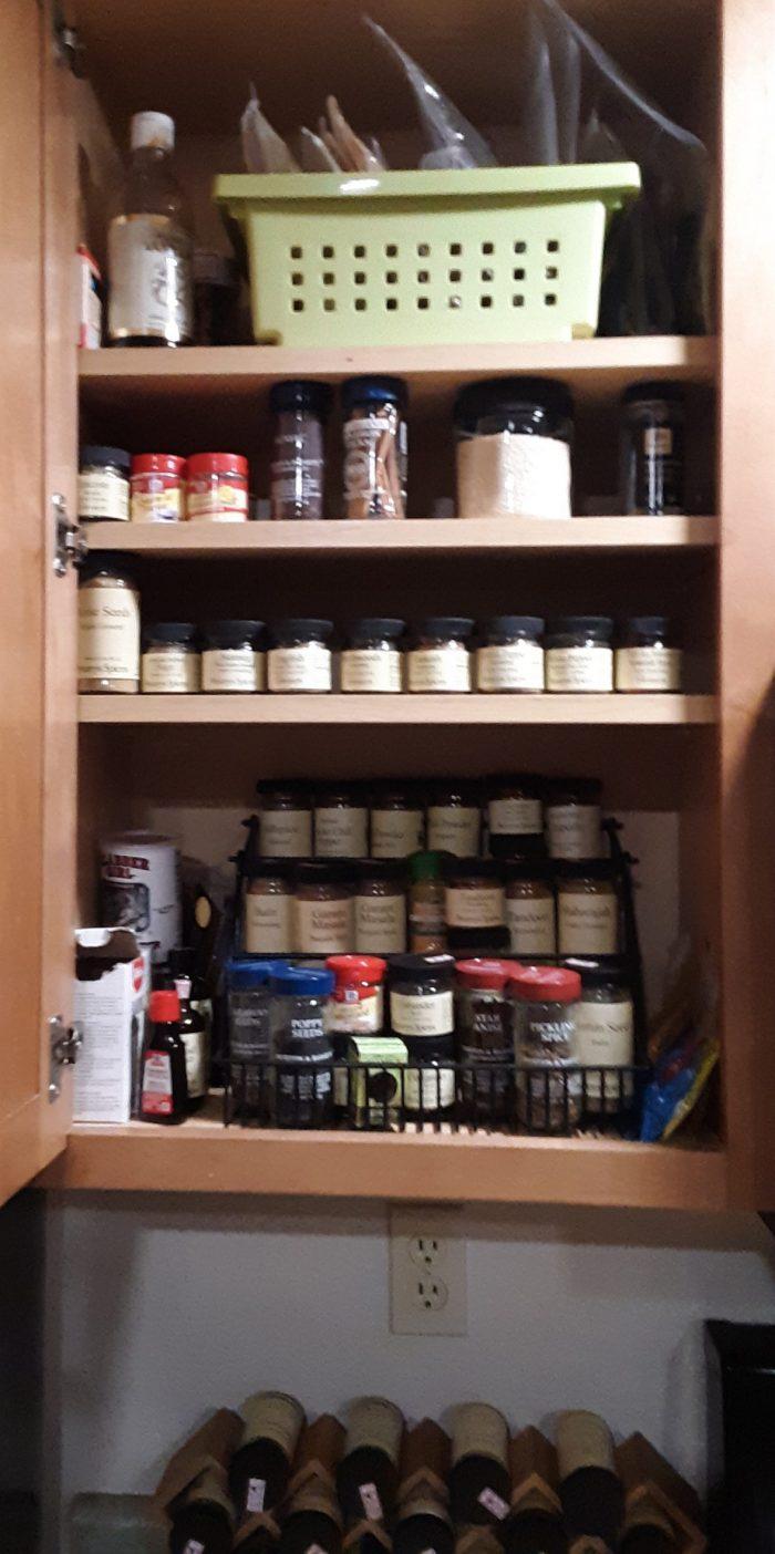 newly organized spice pantry