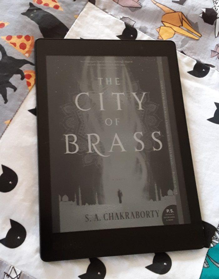 """book cover """"City of Brass"""" shown on kobo ereader"""