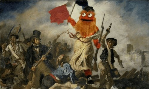 a painting depicting the French revolution with the woman in the center replaced by Philidelphia mascot Gritty