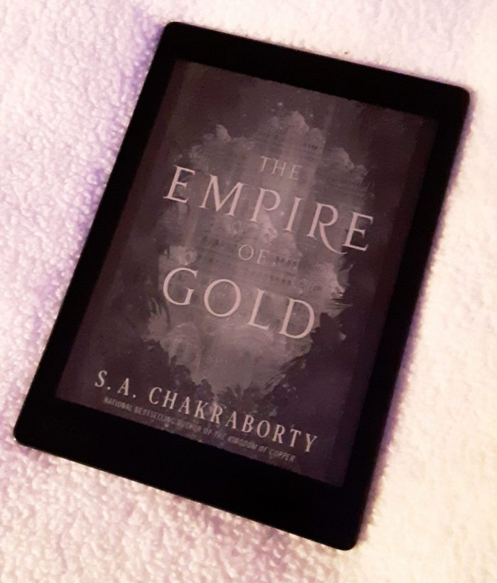 book cover of Empire of Gold shown on kobo ereader
