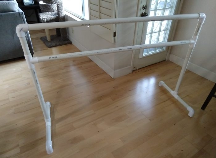 a ballet barre made from pvc pipe
