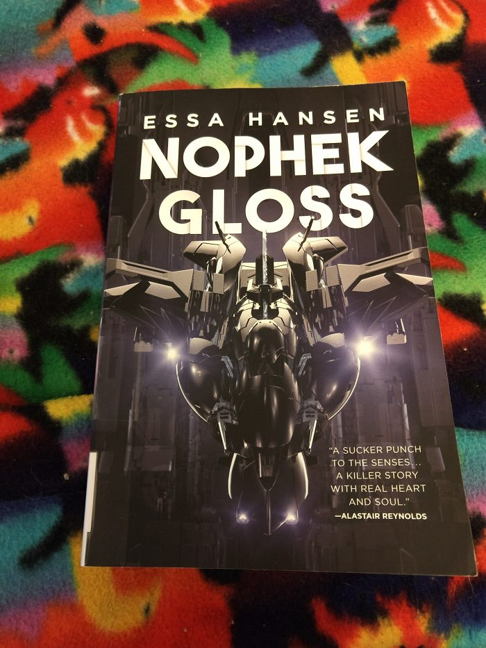 book: Nophek Gloss. A dark cover featuring a glossy spaceship and large white text