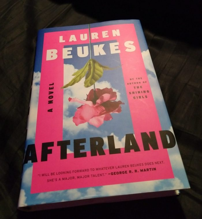 book: Afterland by LAuren Beukes. Cover design has a sky blue background with a few white clouds and a rose upside down in the foreground