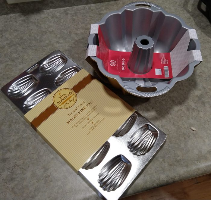 a bundt pan and a madeleine pan, new and sitting on my counter