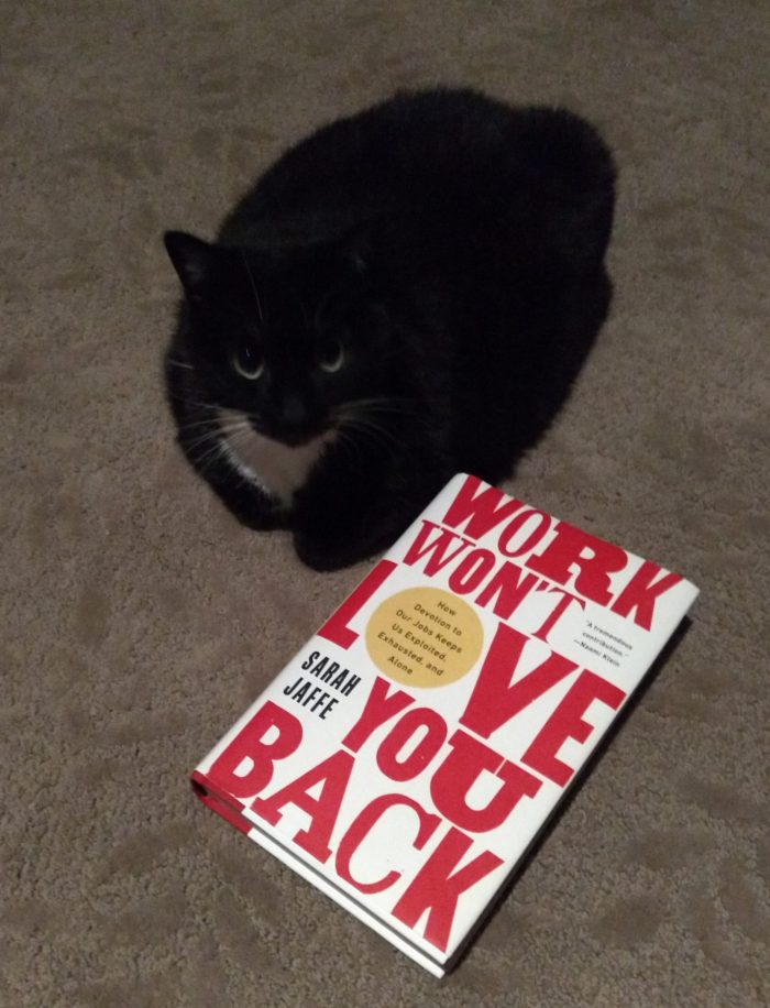hardback book: Work Won't Love You Back. On the floor next to Huey the cat