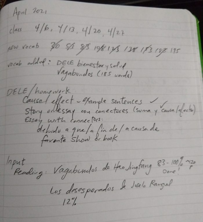 a notebook page noting what I worked in in Spanish in April 2021, including dates I met with my tutor, homework, and books I read