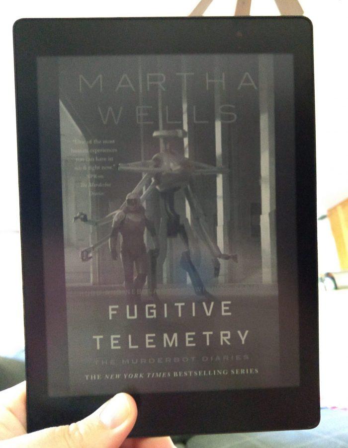 """book cover for """"Fugutive Telemetry"""" shown on the Kobo ereader"""